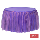 Sheer Two Tone Tulle Tutu Table Skirt - 21ft long - Lavender & Purple