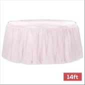 Sheer Tulle Tutu Table Skirt - 14ft long - Pastel Pink