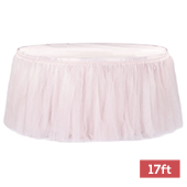 Sheer Tulle Tutu Table Skirt - 17ft long - Pastel Pink