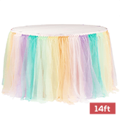 Sheer Tulle Tutu Table Skirt - 14ft long - Pastel Rainbow