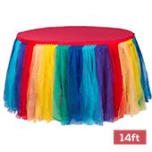 Sheer Tulle Tutu Table Skirt - 14ft long - Rainbow