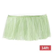 Sheer Tulle Tutu Table Skirt - 14ft long - Sage