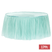 Sheer Tulle Tutu Table Skirt - 17ft long - Turquoise