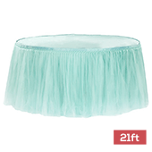Sheer Tulle Tutu Table Skirt - 21ft long - Turquoise
