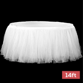 Sheer Tulle Tutu Table Skirt - 14ft long - White