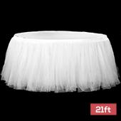 Sheer Tulle Tutu Table Skirt - 21ft long - White
