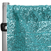 "Turquoise Sequin Backdrop Curtain w/ 4"" Rod Pocket by Eastern Mills - 10ft Long x 4.5ft Wide"