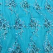 Turquoise - Flourishing Mesh Lace Overlay by Eastern Mills- Many Size Options