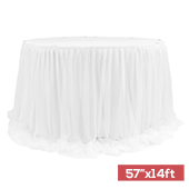 "Shee Tulle Table Skirt Extra Long 57"" x 14ft - White"