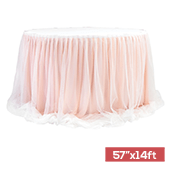 "Sheer Two Tone Tulle Table Skirt Extra Long 57"" x 14ft - Blush/Rose Gold & White"