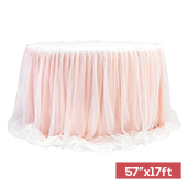 "Sheer Two Tone Tulle Table Skirt Extra Long 57"" x 17ft - Blush/Rose Gold & White"