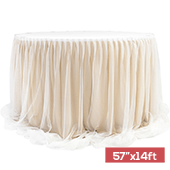 "Sheer Two Tone Tulle Table Skirt Extra Long 57"" x 14ft - Champagne & White"