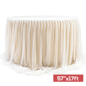 "Sheer Two Tone Tulle Table Skirt Extra Long 57"" x 17ft - Champagne & White"