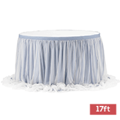 Sheer Tulle Table Skirt Extra Long 17ft - Dusty Blue