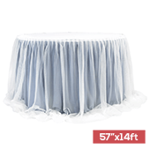 "Sheer Two Tone Tulle Table Skirt Extra Long 57"" x 14ft - Dusty Blue & White"