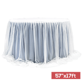 "Sheer Two Tone Tulle Table Skirt Extra Long 57"" x 17ft - Dusty Blue & White"