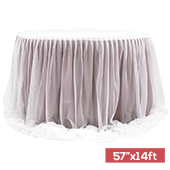"Sheer Two Tone Tulle Table Skirt Extra Long 57"" x 14ft - Dusty Rose/Mauve & White"