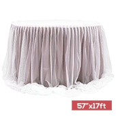 "Sheer Two Tone Tulle Table Skirt Extra Long 57"" x 17ft - Dusty Rose/Mauve & White"