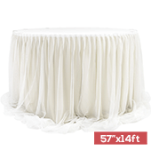 "Sheer Two Tone Tulle Table Skirt Extra Long 57"" x 14ft - Ivory & White"