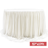 "Sheer Two Tone Tulle Table Skirt Extra Long 57"" x 17ft - Ivory & White"