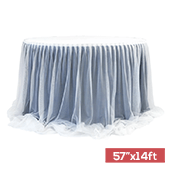 "Sheer Two Tone Tulle Table Skirt Extra Long 57"" x 14ft - Navy Blue & White"