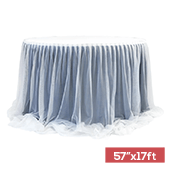 "Sheer Two Tone Tulle Table Skirt Extra Long 57"" x 17ft - Navy Blue & White"