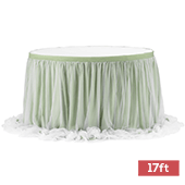 Sheer Tulle Table Skirt Extra Long 17ft - Sage Green
