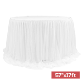 "Sheer Two Tone Tulle Table Skirt Extra Long 57"" x 17ft - White"