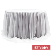 "Sheer Two Tone Tulle Table Skirt Extra Long 57"" x 14ft - Wisteria & White"