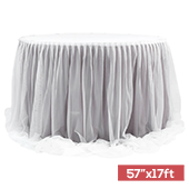 "Sheer Two Tone Tulle Table Skirt Extra Long 57"" x 17ft - Wisteria & White"