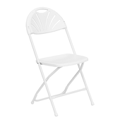 Feather XT™ Fan Back Plastic Folding Chair (Round Top) - 440 lb Capacity - White