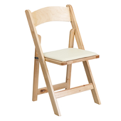 FirmFold™ Wood Folding Chair w/ Beige Vinyl Padded Seat - 1000 lb Capacity - Natural Wood