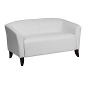 UltraLounge™ Fixed Cushion Leather Love Seat - White