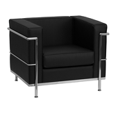 UltraLounge™ Contemporary Leather Chair w/ Encasing Frame - Black