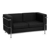 UltraLounge™ Contemporary Leather Love Seat w/ Encasing Frame - Black