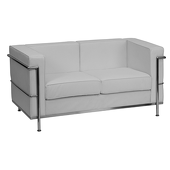 UltraLounge™ Contemporary Leather Love Seat w/ Encasing Frame - White