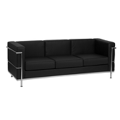 UltraLounge™ Contemporary Leather Sofa w/ Encasing Frame - Black