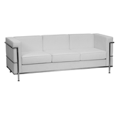 UltraLounge™ Contemporary Leather Sofa w/ Encasing Frame - White