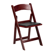 FirmFold™ Wood Folding Chair w/ Vinyl Black Padded Seat - 1000 lb Capacity - Red Mahogany