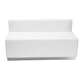 Titan Series White Leather Loveseat With Brushed Stainless Steel Base