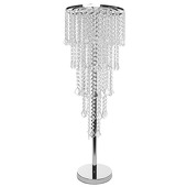 DecoStar™ 5-Tier Faceted Crystal & Chrome Table Chandelier Centerpiece - With Stand!