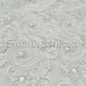 White - Blossoming Lace Overlay by Eastern Mills - Many Size Options