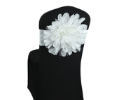 DecoStar™ White Flower Chair Band - Choose your Size!