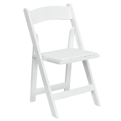 FirmFold™ Wood Folding Chair w/ Vinyl Padded Seat - 1000 lb Capacity - White