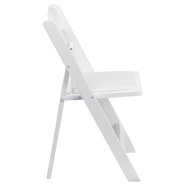 FirmFold™ Wood Folding Chair w Vinyl Padded Seat 1000 lb Capacity White