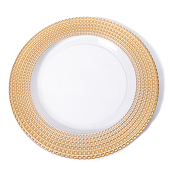 "DecoStar™ Gold Tripoli Glass Round Charger Plate 12.6"" - 4 Pack"