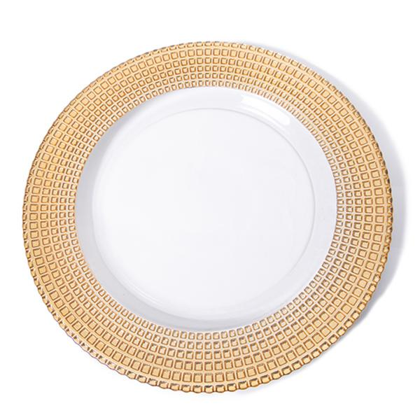 Glass Charger Plates Wholesale | Gold Dinner Plates for Wedding