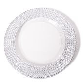 "DecoStar™ Silver Tripoli Glass Round Charger Plate 12.6"" - 4 Pack"