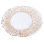 DecoStar™ Gold Rimmed Sponge Glass Round Charger Plate 12.6