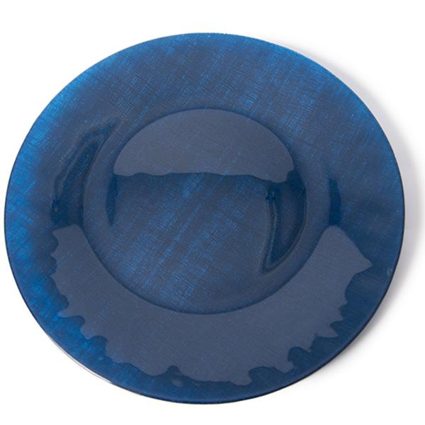 Navy Blue Glass Round Charger Plate 12 6 4 Pack